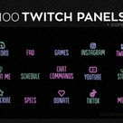 100 Twitch Panels and Icons for Streaming | Soft Pale PNG Twitch Panels Set Bundle | Twitch Panel Package