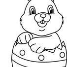 Holiday Black and White Outline Clipart - easter_rabbit_in_egg_01_outline