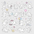 Cute elephant wild animals in various poses vector image on VectorStock