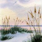 Dusk in the Sand Dunes and Sea oats  Beach Decor  Beach Print  Beach House Decor