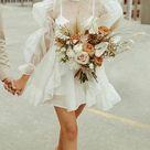 Short Beach Vintage Unique Long Sleeves Wedding Dresses WD009