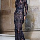 MNM COUTURE - N0293 Long Sleeve Sequined High Neck Sheath Gown
