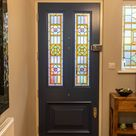 Bespoke accoya door with stain glass panels