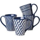 wisdomfurnitureco Coffee Mugs Set Tall 17 Ounces, Coffee Mugs Large, Ceramic Mugs w/ Embossed Nordic Style, Tall Coffee Mugs w/ Handle in Blue