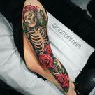 Leg skeleton and roses tattoo
