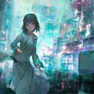 anime futuristic city,girl running,cars,painting