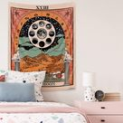 MENTAIQI Vibrant Trippy Sunflower Spaceman Tapestry, Psychedelic Hippie Astronaut Roam at The Sunflower Field Art Wall Hanging Decorations for Room Dorm - Brown Tarot / 59.1 × 78.7