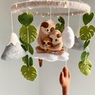 Sloth mobile with mountains and cactus for nursery, hanging mobile from felt, expecting mom gift