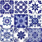 Tile Stickers for Kitchen Bath or Floor Waterproof  Tr007 ChinaBlue