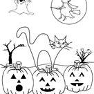 Color the Spooky Halloween Scene   Worksheet   Education.com