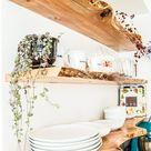 Kitchen Floating Live-Edge Shelves