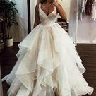 Elegant Floor Length Cascading Ruffles Wedding Dress