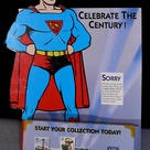 Superman cardboard cutout used by the US Postal Service in the 1990s as a pamphlet holder to promote their series of stamps, Celebrate the Century. Superman was featured on a stamp from the 1930s set, when he was created. This stand-up is about 15 inches tall.
