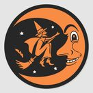 Classic Vintage Halloween Moon and Witch Classic Round Sticker   Zazzle.com