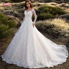 Great Lace A Line Wedding Dress   Sexy Scoop   Neck Flowers Long Sleeve Princess Bride Gown   Plus Size WSO1   Ivory / 12