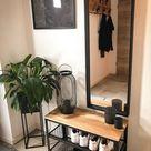 boho entryway bench decor idea