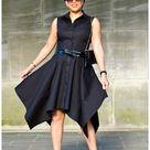 Review: McCall's 7351   Black Poplin Handkerchief Hem Shirt Dress!