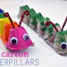 Egg Carton Caterpillars by Balancing Home - Poofy Cheeks