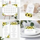 Wedding Invitation Template Sunflower Bundle , Rustic Sunflower Wedding Invite Suite Instant Download, 144