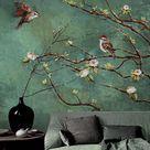 Vintage donkere vogels en bloemen behang, natuur muurschildering, bloemen kunst aan de muur, muur sticker, donkergroene muur sticke