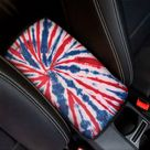 Red And Blue Spider Tie Dye Print Car Center Console Cover