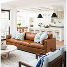 gray sofa brown leather chairs