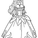 Ausmalbild Prinzessin im Blumenkleid gratis ausdrucken
