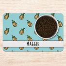 Blue Pineapple Dog Mat, Cute Personalized Dog Placemat, Custom Pet Food Mat, Pet Bowl Mat, Cat Feeding Mat, New Puppy Gift