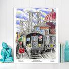 Williamsburg ,Williamsburg bridge,Williamsburg M train,M train, Queens, New York, cloud print, by awarded  artist Melixah