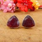925 Sterling Silver Ruby Corundum 12X12MM Trillion Faceted Gemstone Stud Earrings Silver Handmade Je
