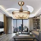 Luxury Gold Finish LED Retractable Ceiling Fans Chandelier