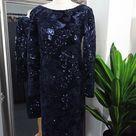 Blue Dress  Sequin Dress  Sequinned Dress  Beaded Dress  Embellished Dress  Cocktail Dress  Navy Blue Dress  Old Hollywood Dress  Bodycon