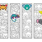 Cute Jungle Animal Bookmarks  PDF Coloring Page  Tiger | Etsy