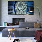 Blue Abstract Buddha Wall Art Painting I I Yoga Meditation Zen decor I Buddha Head I Buddhist I Artwork for Yoga SPA Living Room Bedroom