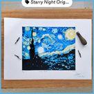 Starry Night Linocut Print | Linoleum Print | Handmade Original Linocut Prints | Lino Print Art