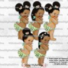 Island Girl Tropical Hibiscus Hawaiian Luau Green Pink | Baby Girl African American Babies of Color Puffs | Clipart Instant Download