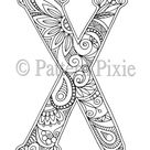 Adult Colouring Page Alphabet Letter X | Etsy