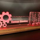 Personalized Teacher - Principal - Professor - Educator LED light desk name plate and business card holder. Wood and Acrylic.