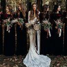 Long Sleeves V-Neck Red Mermaid Popular Modest Cheap Bridesmaid Dresses WG631 - US10 / Black