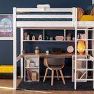 Lit mezzanine ado 2 places avec bureau Cancun  Blanc et bois 120x190 cm/Opt:Bureau en longueur