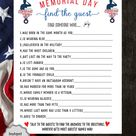 Memorial Day Find The Guest Game for Kids & Adults   Memorial Day Party Game   Memorial Day Family Trivia Quiz   Patriotic Game l Printable