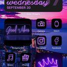 Purple iOS 14 App Icon Pack   Neon Aesthetic iOS 14 Icons   iPhone Icon Pack Neon   71 Pack App Icons