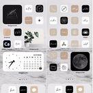 Neutral Handlettered Icon Theme Pack | IOS 14-15 | App Covers Black, White, Cream, Blush