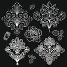 set of black and white paisley pattern vector graphics 02 for Free Download | Free Vector