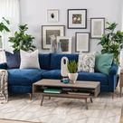 Two-Piece Contemporary Chaise Sectional in Blue
