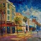 Ocean Drive street in South Beach, FL-KoKing FORT-k507-Home Decor Holiday Artwork Texture Painting Dining Wall Art