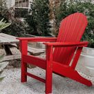 Rosecliff Heights Giffin Plastic Adirondack Chair Recycled Plastic/Plastic/Resin in Red, Size 41.5 H x 23.6 W x 38.0 D in   Wayfair