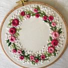 Floral Wreath Embroidery Kit or Finished Hoop. Modern Embroidery. Personalized Embroidery. Kit for Beginner. Pre Printed Fabric.