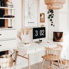 Clean And Bright, Boho Home Office Inspiration Ideas   Home office design, Home office decor, Home o