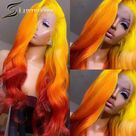 Loose Body Wave Orange Ginger Lace Front Wig Pre Plucked Human Hair Ombre 613 Yellow 250 Full HD Transparent Lace Frontal Wig 30 - 30inches / 150%
